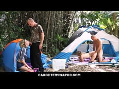 Young Teen Daughters Alyssa Cole And Haley Reed Go Camping With Their Dad's And Swap Fuck Them