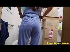 Real Teen Nurse Shoves Panties Up Her Snatch