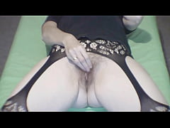 Watching hairy pussy lady masturbate and orgasm
