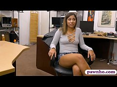 Flirty brunette babe gives a sloppy blowjob and gets banged by pawn keeper at the pawnshop