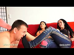 MIRA CUCKOLD AND HER GIRLFRIEND - FOOT SLAVE TR...