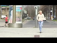 Bursting To Pee In Public, Pretty Young Girl Can't Avoid An Wetting Accident
