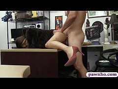 Tight amateur brunette babe in fur coat gives a nice sloppy blowjob