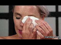 Nasty bombshell gets jizz shot on her face gulping all the ejaculate