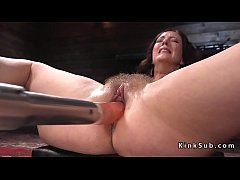 Natural busty brunette solo babe Cherry Torn in her wet and squirting pussy gets fucking machine