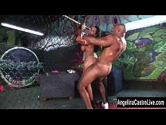 Angelina Castro Takes on a Huge Big Black Dick In A Cage!