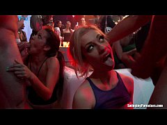 Sexy party chicks fucking in club orgy