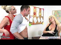 Busty blonde sex teachers Phoenix Marie and Summer Brielle share cock