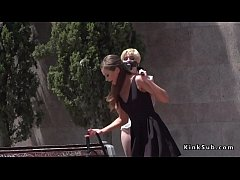 Blonde slave Molly Saint Rose in jeans shorts gagged on a leash disgraced and humiliated outdoor in public