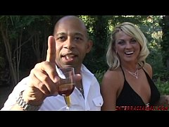 Blondes partying with big black cock dudes in orgy