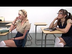 Naughty schoolgirl Brandi Blunt was keep after by her strict preceptress Rebecca Bardoux