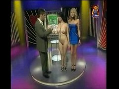 Ultra sexy big tits girl plays strip poker on TV show