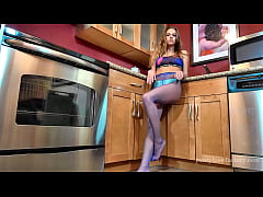 Mika Pantyhose Tease in the Kitchen