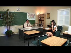 "Smart student Nadia Aria asks: ""Hey, teacher, leave us, ..., alone "", while horny educator was polishing her twat in the classroom"