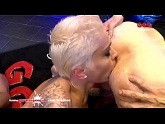 Sexy Busty tattooed babe Mila Milan gets in the famous Sperm Arena for some serious fucking and bukkake gangbang action!