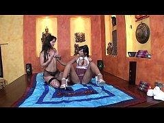 Come-on-eyed brunettes gals Jenny Baby and Angel Pink enjoy riding hard poles