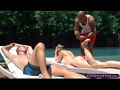 Newlywed blonde chick gets double penetrated ou...