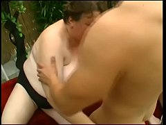 Two BBW mature ladies take cock at the backyard