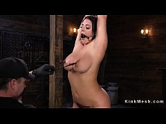 brunette slave in rope bondage suspension gets her pussy toyed and vibrated