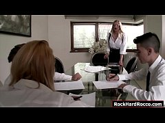 Busty teacher sends her two student away and lets a teen babe rub her tits.The teen then sucks her classmates cock while the other one fucks her.The teacher joins them,they suck their cocks and she lets them anal ream and double penetrate her