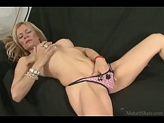 Goodly blonde masturbating pussy and getting nailed hard