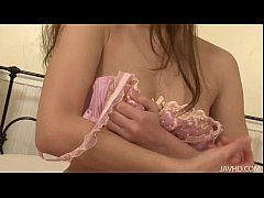 Sweet Mei in pink plays with her heart vib toys...
