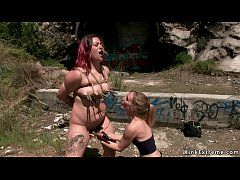 Mona Wales toys pussy to redhead bbw Lady Nala outdoor in bondage then drags her in public bar where makes her suck and fuck alt dude