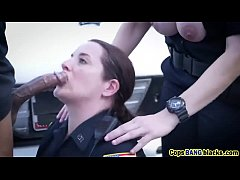 Threesome interracial cops blowjob fuck bbc out...