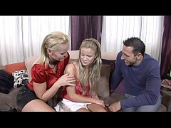 Sexually-unfettered wedded couple scored innocent-looking blonde cutie  Bianka Lovely  to try her first threesome action