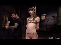 Small tits brunette slave gets nipples clamped and pussy whipped