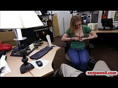 Pretty amateur woman goes naked and gets banged by pawn keeper in his office