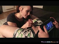Dude Plays Wii U, While His GF Sucks His Cock. - YourFreePorn.tv
