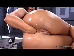 Sexy solo brunette babe Roxy Raye fingers and fists her asshole then gets fucking machine