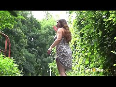 Pee Desperation - Curvy babe pisses on a walkpath