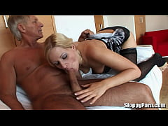 Hot blonde fucked by grandpa