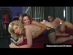 Big breasted Cougars Deauxma & Nina Hartley invite Black Cock Danny Ocean into their bed for a steamy interracial threesome & Deauxma Squirts On Danny!