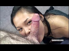 Asian Lucy swallowing a cock in this POV scene