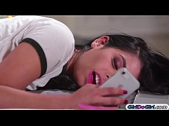 Gina Valentina rubs on a lingerie pic of her classmate Karlee Grey and accidently clicks like.Karlee sees it and wants some fun and invites her over.She teases her and they kiss.Gina makes her squirt first before licking her and facesits her