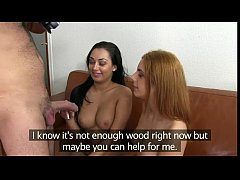 Two girls anal fucking in casting