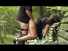 Dogging wife gangbanged by many strangers outdoors
