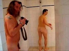 Naked rugby players get touchy feely in the showers...