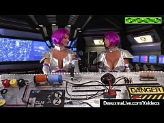 Purple Haired Big Boobed Aliens Deauxma & Brooke Tyler enter the mating chamber on their space ship for some steamy intergalactic lesbian pussy licking!