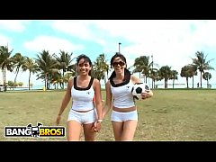 BANGBROS - Sophia and Summer Bailey Playing Soccer In Short Shorts, Showing Off Their Big Asses