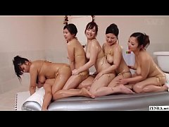 JAV thick women BBW soapland harem sex party featuring five extra curvy women treating a very lucky client in HD with English subtitles