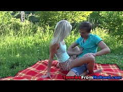 Blonde teen screw outside