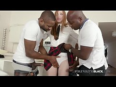 Young Redhead Linda Sweet fucks her mouth & wet pussy with 4 big black cock, in this hot after school GangBang by PrivateBlack.com!