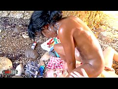 Brutal food sex party at the beach with Noemilk
