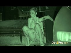 Pissing Outdoors - Euro slut pisses in public and gets caught on Night vision