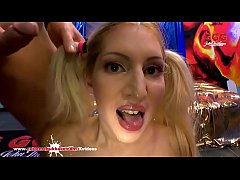 Sexy Pigtailed blonde babe Leona loves having her tight pussy hole fucked hard and her pretty face cum covered! Extreme Bukkake