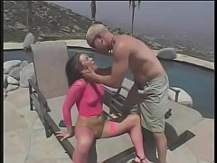 Hot young chick Ashley Blue masturbates with toy then gets anal fucked by long cock outdoor